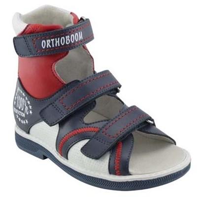 Orthoboom 71057-06 (синий с красным с белым) - Детская ортопедическая обувь с высоким берцем - фото 7236