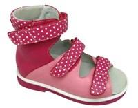 Детская ортопедическая обувь с высоким берцем Orthoboom 71497-1 (малина в горошек)