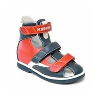 Детская ортопедическая обувь с высоким берцем Orthoboom 81057-02 (красно-синий с белым)