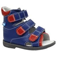 Детские ортопедические сандалии с высоким берцем ORTMANN Eger (синий/красный)