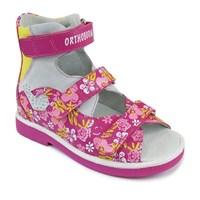 Детские ортопедические сандалии с высоким жестким берцем Orthoboom 71057-08 / темно-розовый с принтом