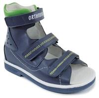 Детские ортопедические сандалии с высоким жестким берцем Orthoboom 71057-09 / синий с зеленым