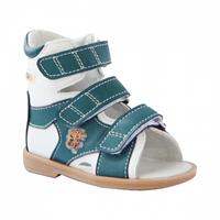 Детские ортопедические сандалии с высоким жестким берцем Ortmann Vega (белый/зеленый)
