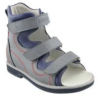 Orthoboom 71057-09 (серый-синий) - Детская ортопедическая обувь с высоким берцем