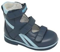 Детская ортопедическая обувь с высоким берцем Orthoboom 81597-32 (синий-голубой)