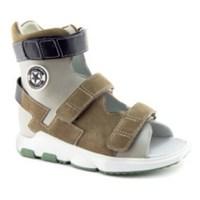 Детская ортопедическая обувь с высоким берцем Ортобум 71057-12 (коричнево-серый)
