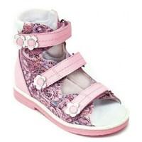 Детская ортопедическая обувь с высоким берцем Orthoboom 71497-2 (светло-розовый с цветами)