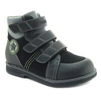 Осенняя ортопедическая обувь для детей - Ортобум 81054-01 (ярко-черный с серым)